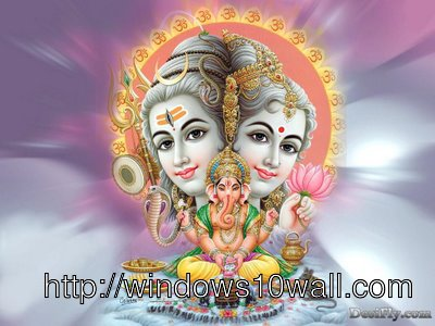 Ganeshji with Shivaji and Mata Parwati Background Wallpaper