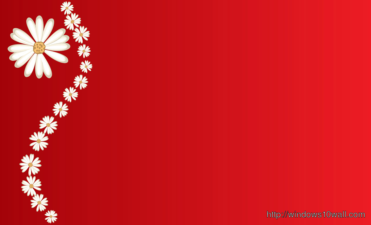 Daisies On Red Background Free