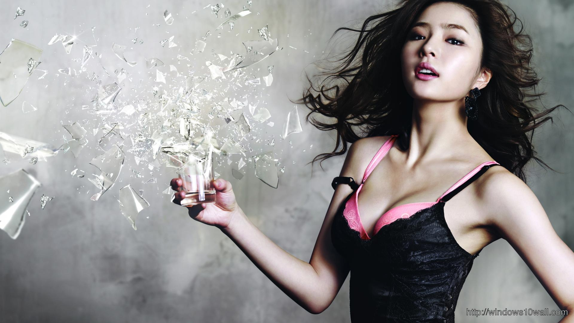 Cute Girl Breaking Glass FB Background Cover
