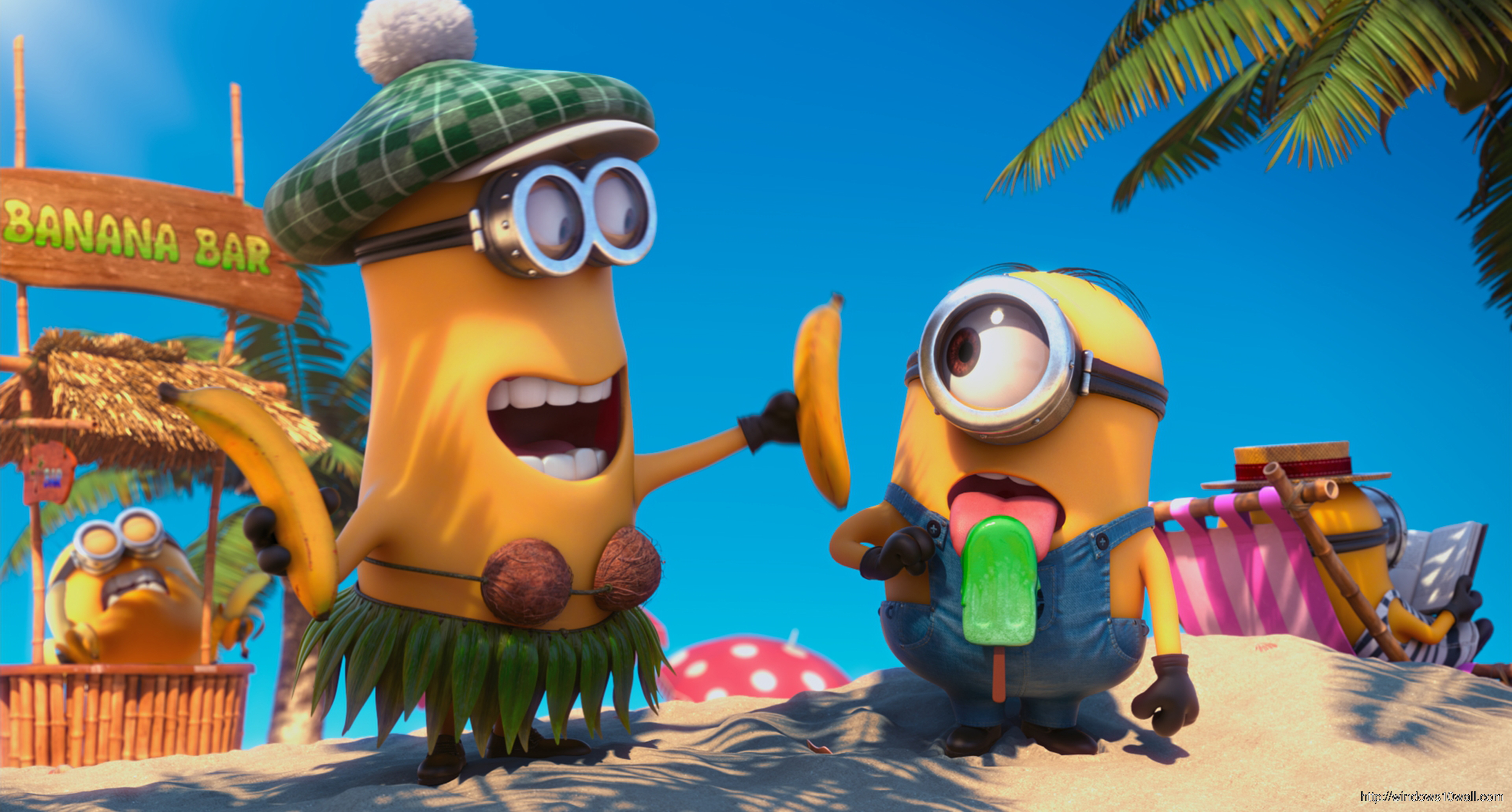 Yellow Banana Minions Background Wallpaper
