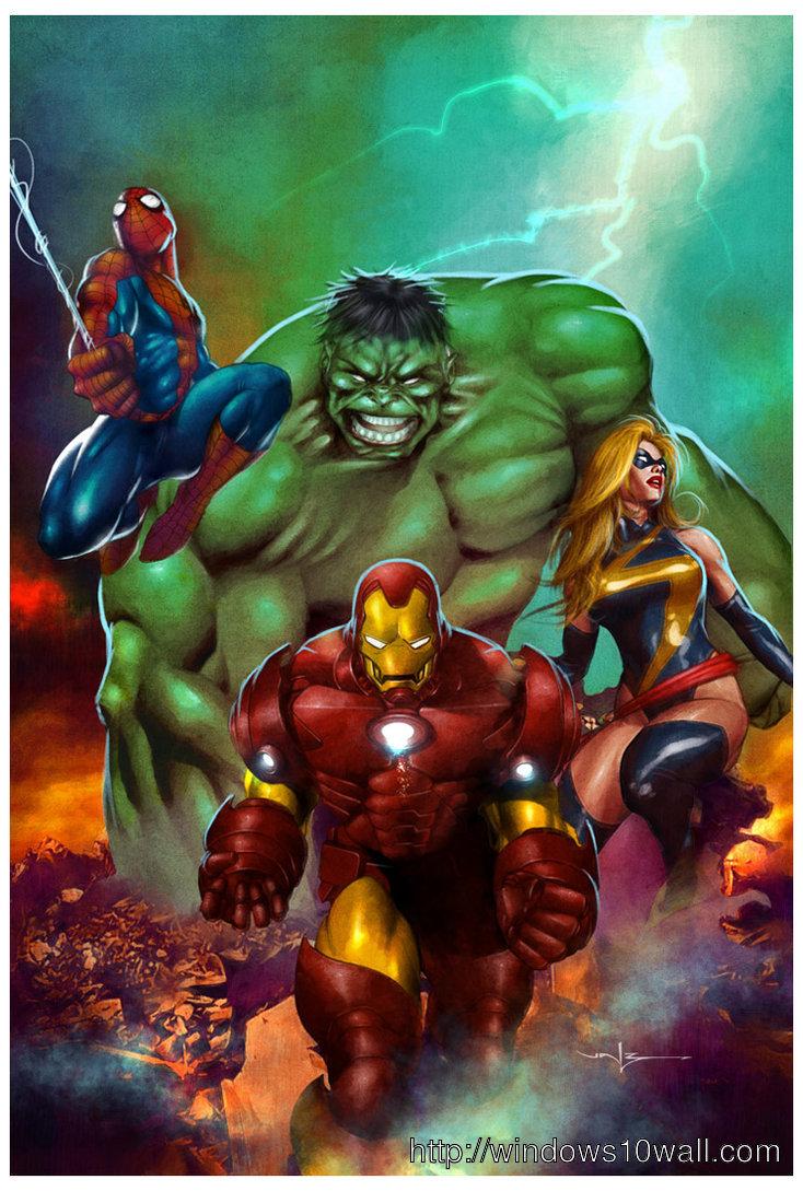 Marvel Heroes Mobile Wallpaper