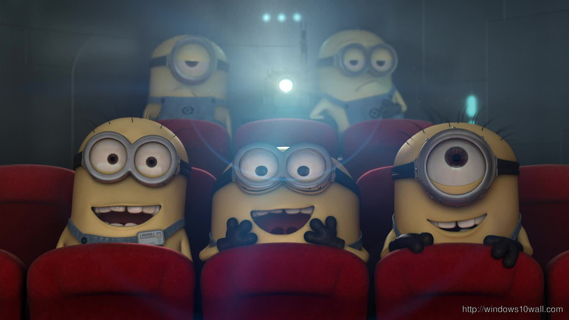 Minions in Theatre Background Wallpaper