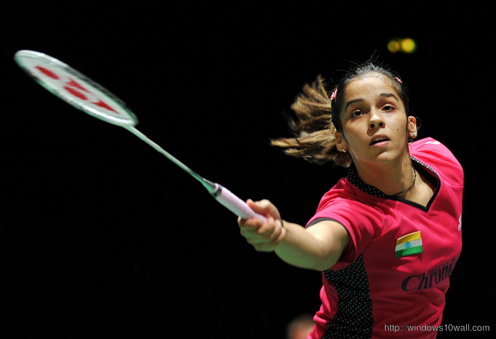Saina Nehwal With Racket Background Wallpaper