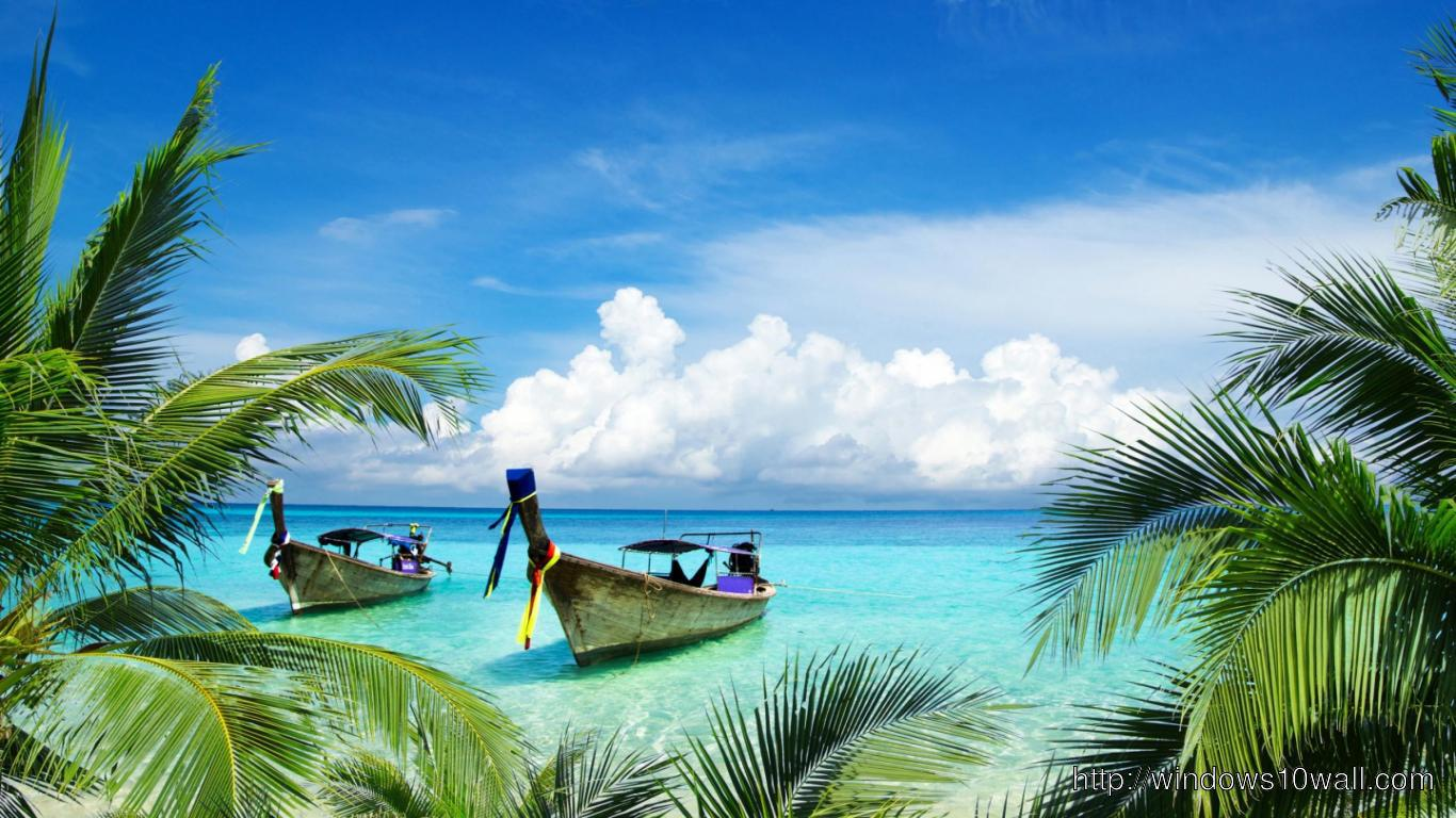 HD Boats on Beach Paradise Island Facebook Background Cover