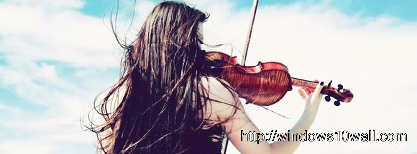 Girl playing violin lovely facebook background cover