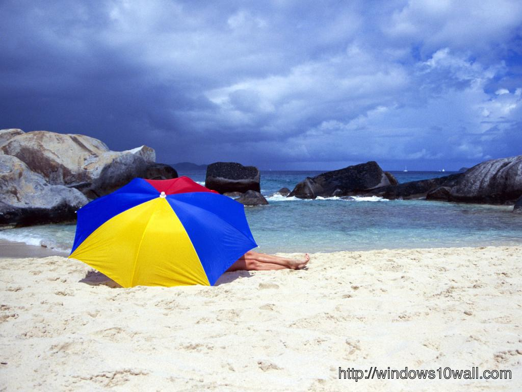 HD Happy Girls and Umbrella on Beach Facebook Background Cover