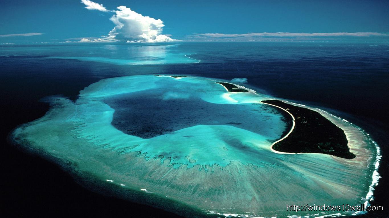 HD Heart Shape Island Tropical Beach Facebook Background Cover