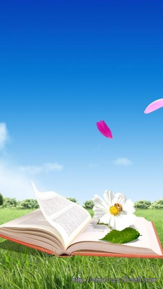 digital book and flowers cool iphone 5 background wallpaper