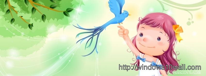 Little Girl holding Twitter Bird Facebook Background Cover