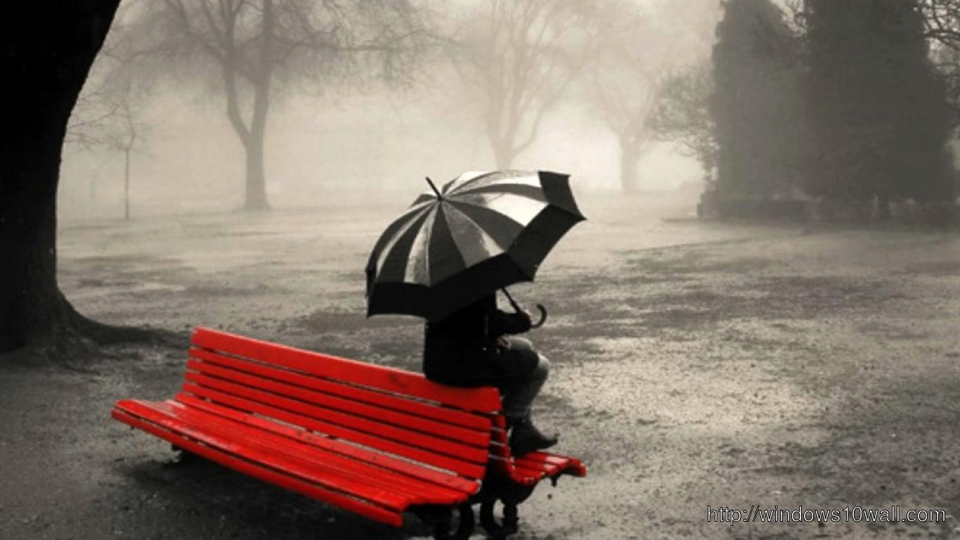 HD Lonely Girl Sitting on Bench Summer Rain Facebook Background Cover