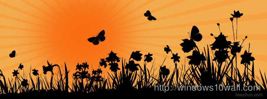 Floral and Sunrise Facebook Timeline Background Cover