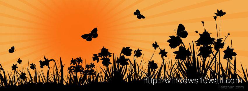 Floral and Sunrise Facebook Timeline Background Cover