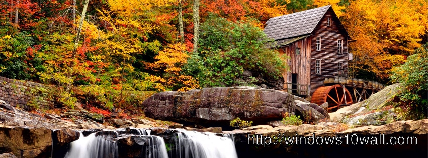 HD Waterfall in the Fall FB Background Cover