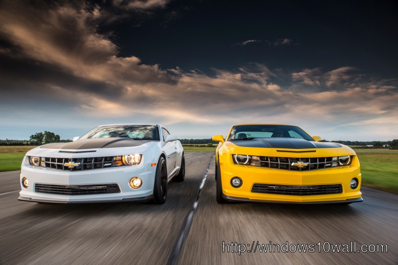 White n Yellow Chevrolet Camaro SS 1LE Muscle Desktop Wallpaper