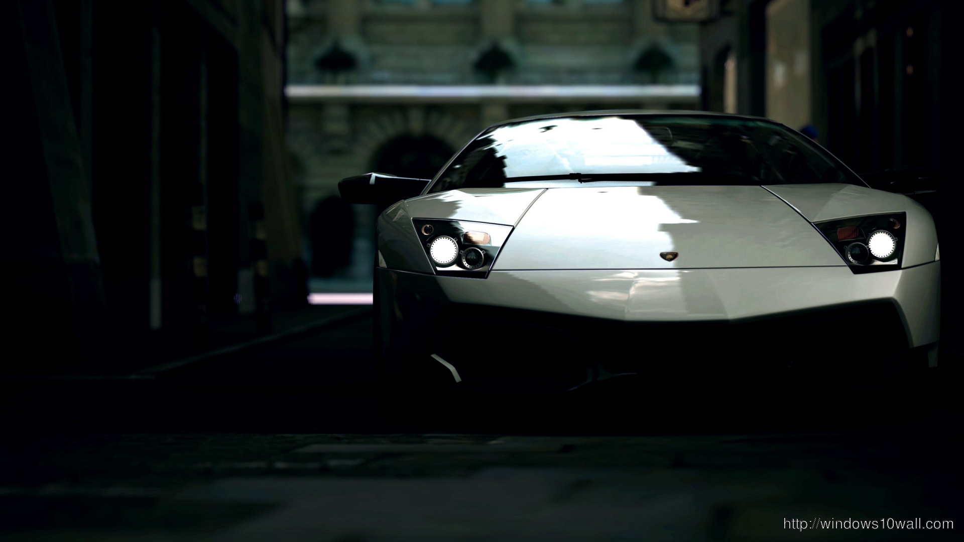 Lamborghini Aventador In the Dark Black 2013 Desktop Background Wallpaper
