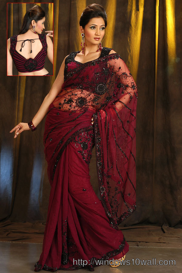 Latest Saree in Maroon Color with Embroidery