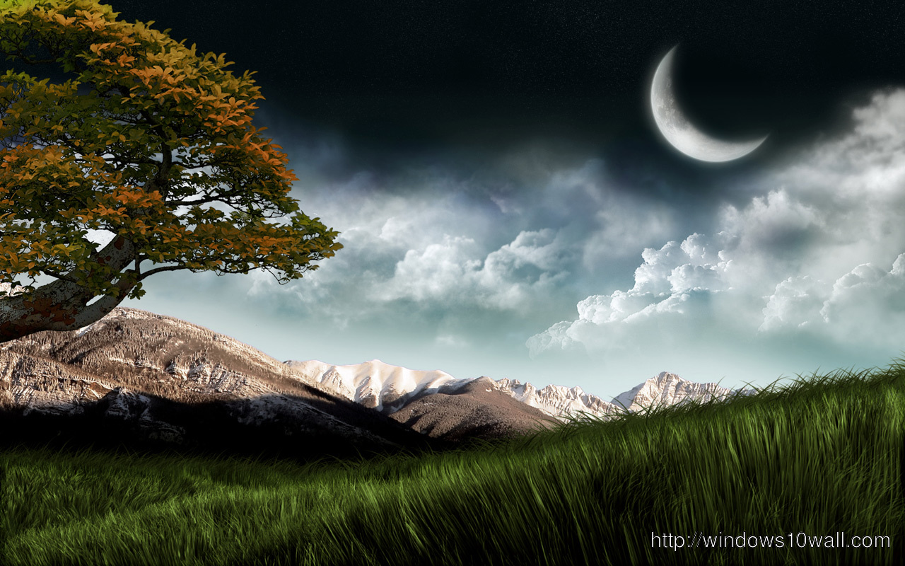 3d Nature with Moon Background Pic