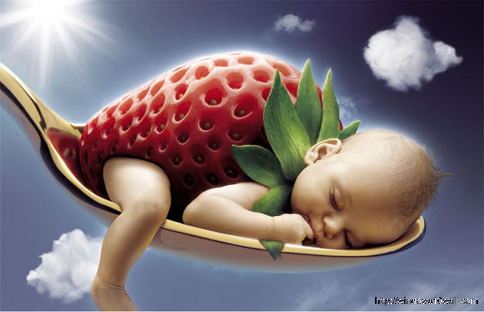 Sweet Baby Picture with Strawberry on Spoon Wallpaper