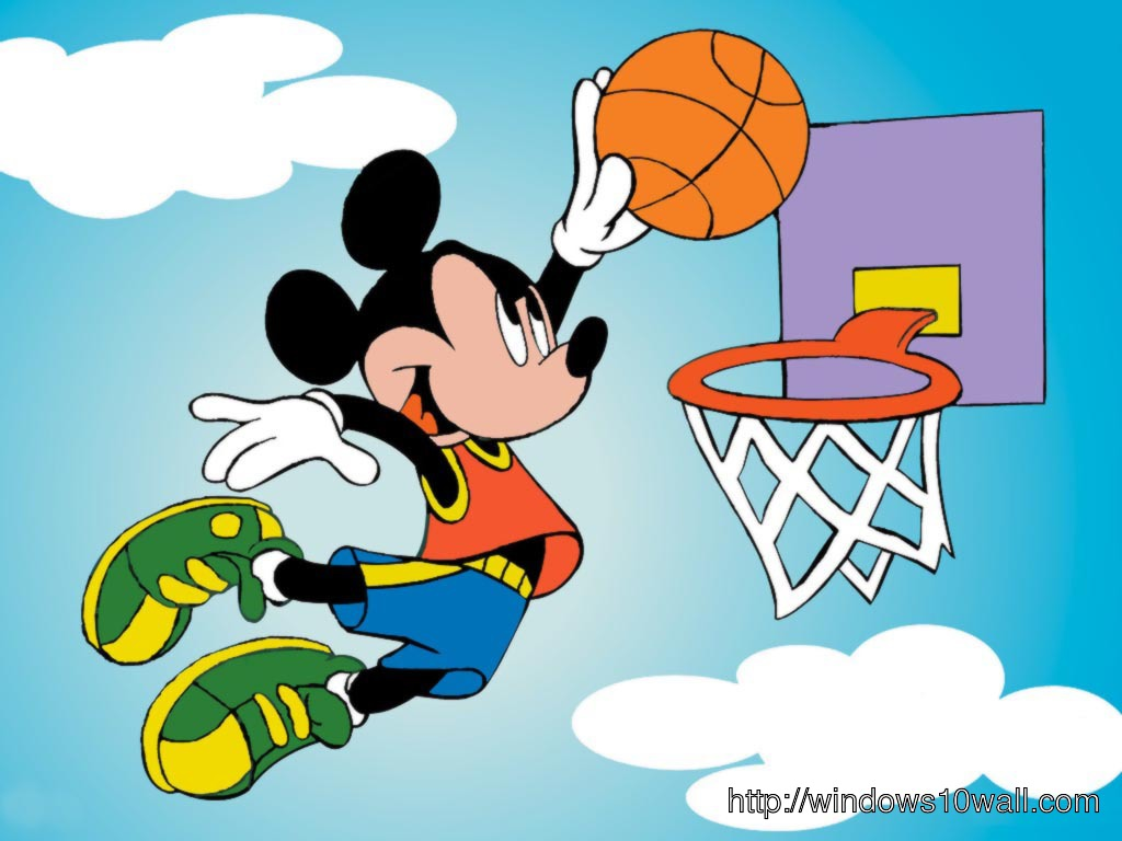 Cartoon Wallpaper Mickey Mouse Playing NBA