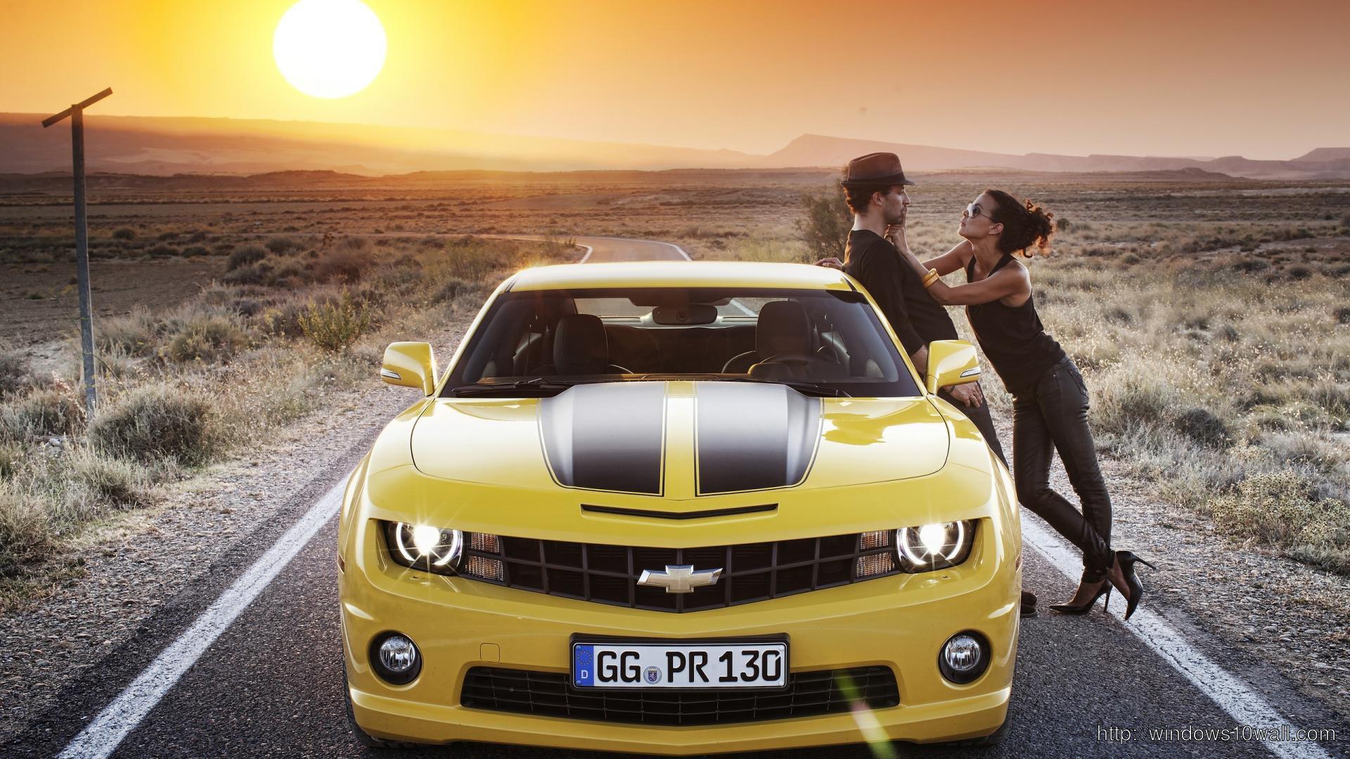 Chevrolet in Sunset Background Wallpaper