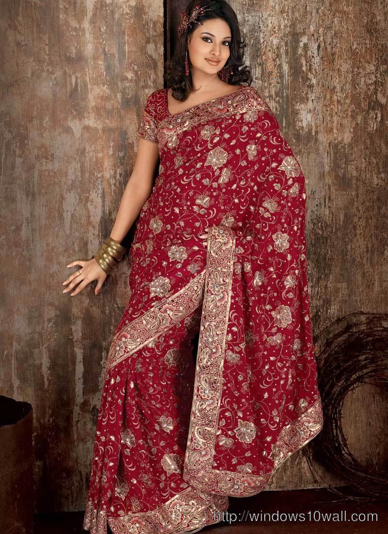 Latest Indian Embroidery Bridal Saree Ideas