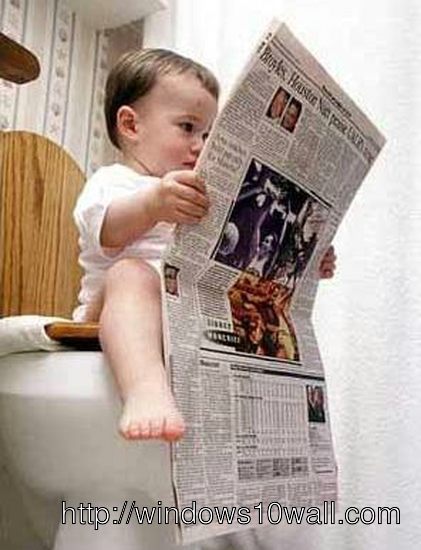 Funny Kid Reading News Paper in Toilet Wallpaper