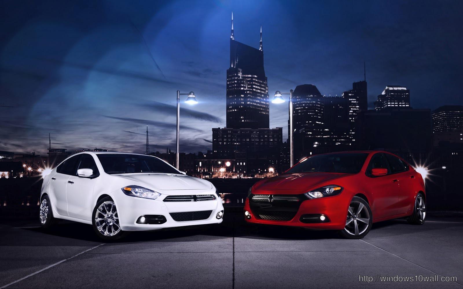 Red n White 2013 Dodge Dart Background Wallpaper