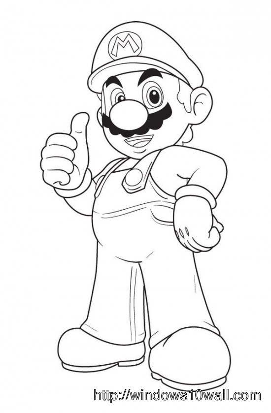 Mario Bros Coloring Page for Kids Wallpaper