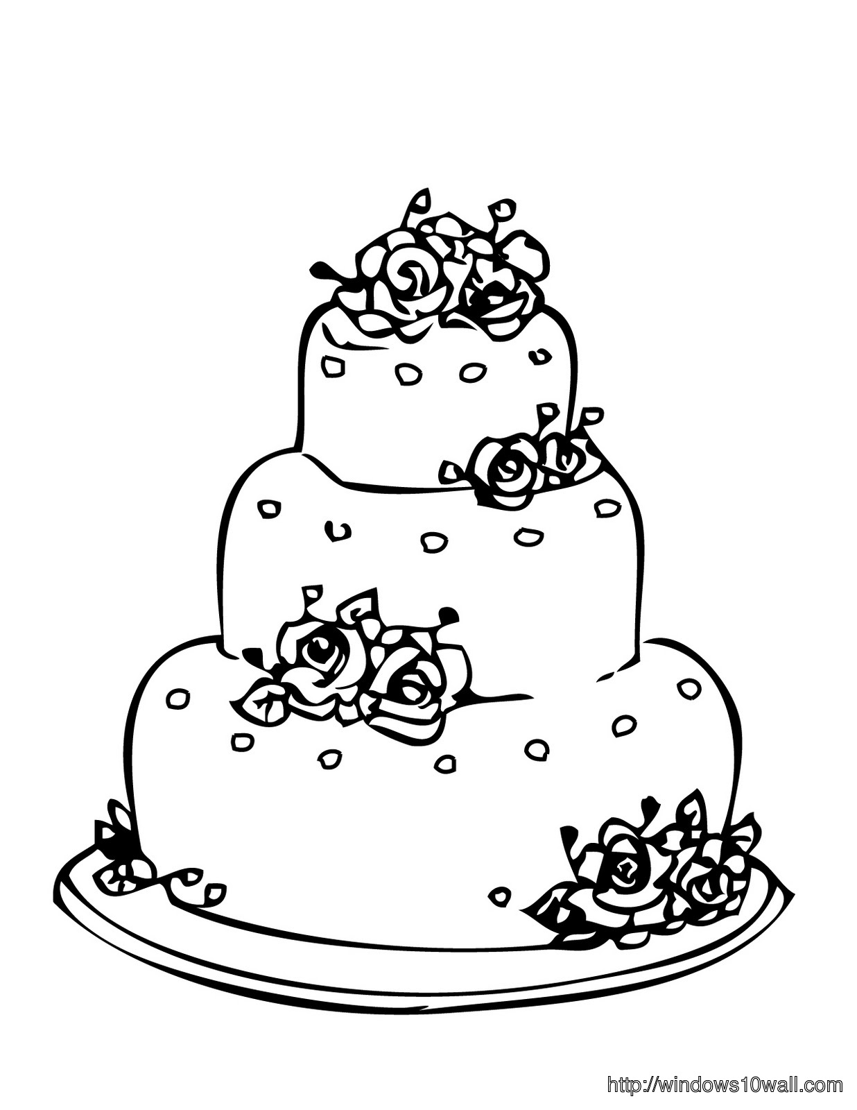 Cake Coloring Page for Kids Wallpaper