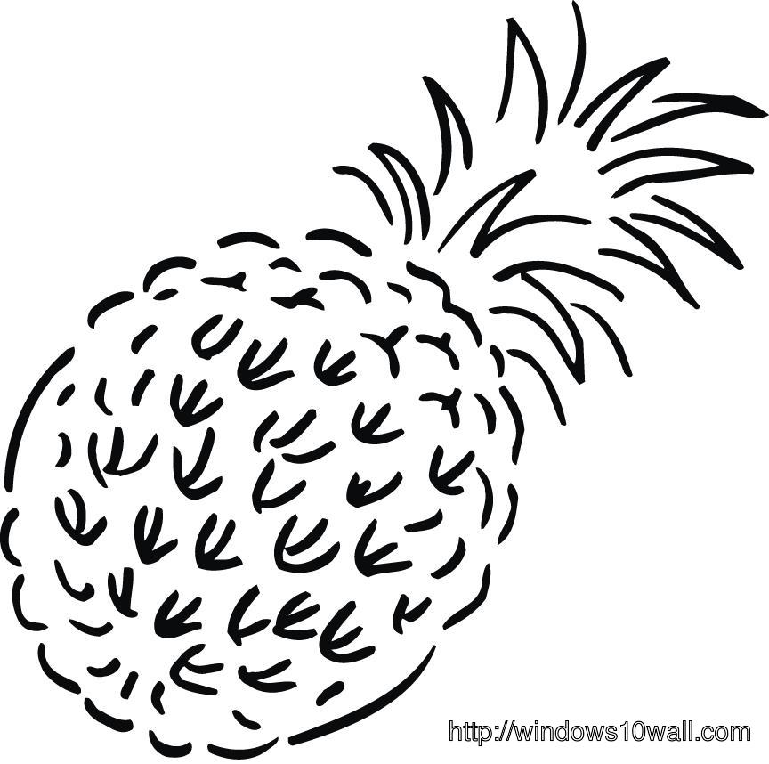 Pineapple Coloring Page for Kids Wallpaper