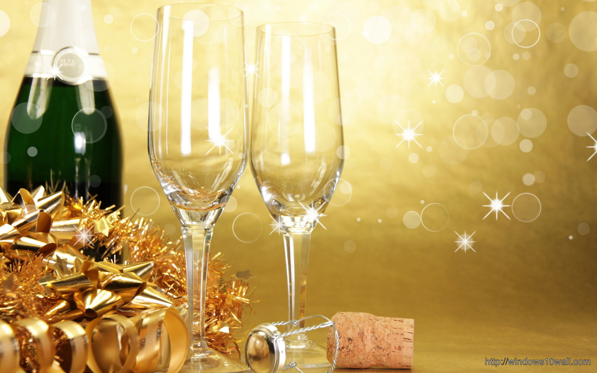 Champagne Glasses on Golden Background Wallpaper