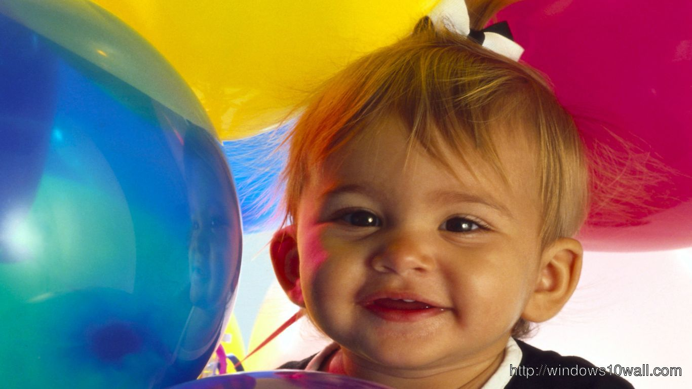 Cute Baby with Baloons Background Pic