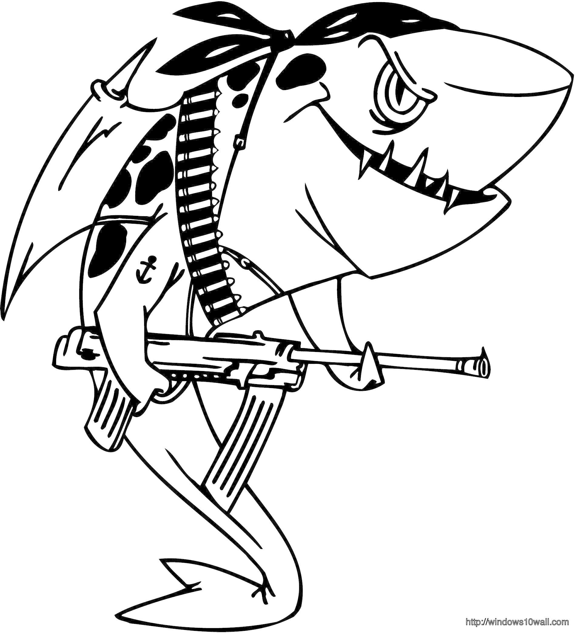 Military Shark Coloring Page for Kids Wallpaper