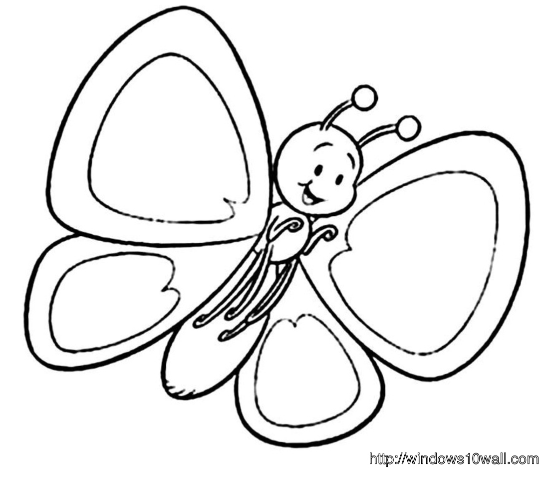 So Sweet Little Butterfly Coloring Page for Kids Wallpaper