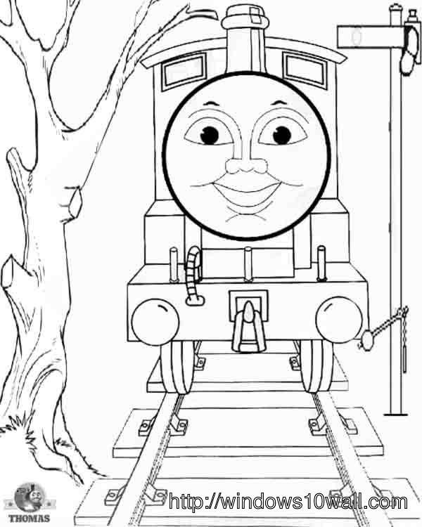 Thomas The Train Coloring Page for Kids Wallpaper