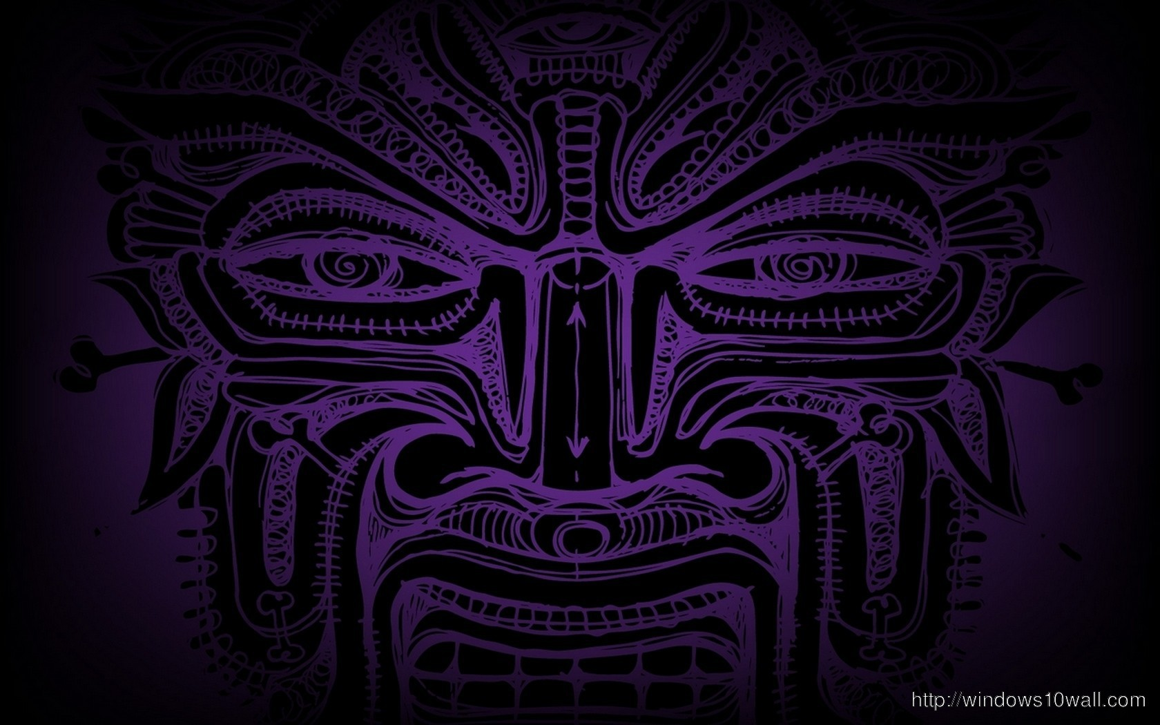 Purple Face Abstract Tribal Wallpaper