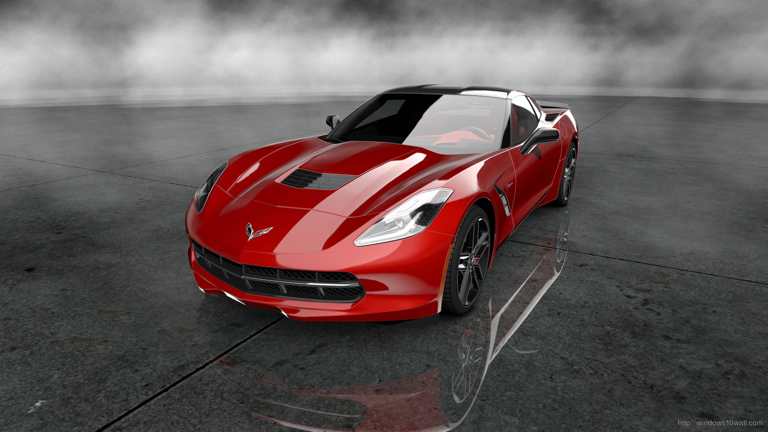 2014 Corvette Stingray Red Background Wallpaper