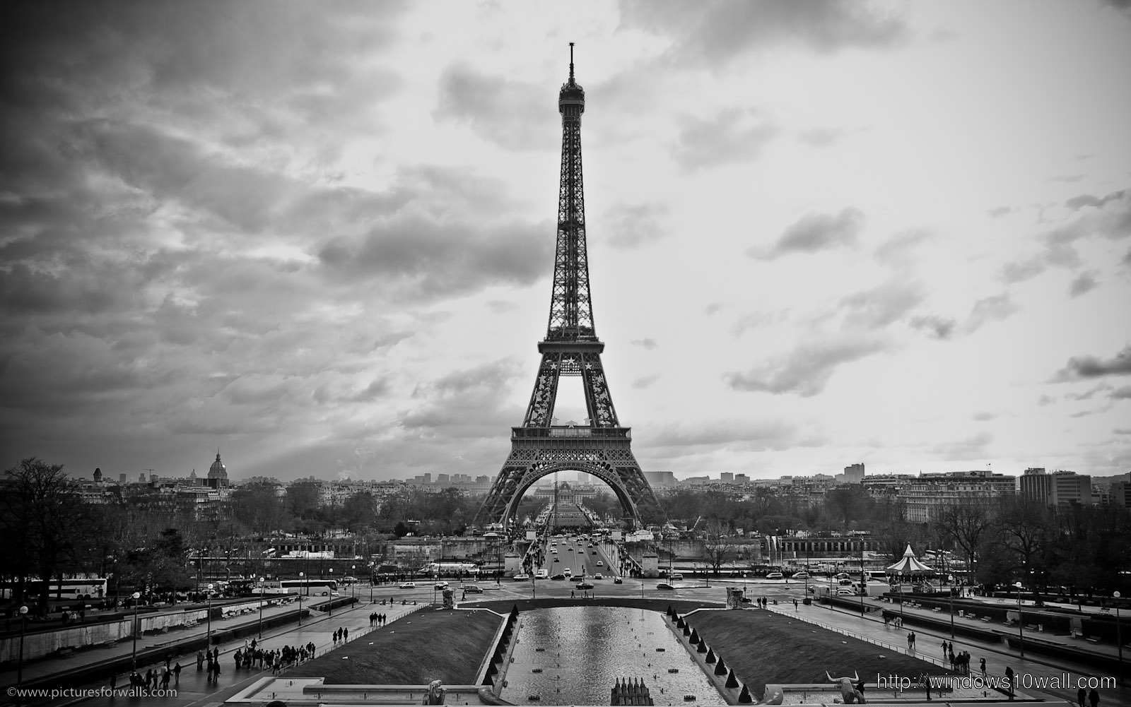 Awesome Paris Black n White View Background Wallpaper
