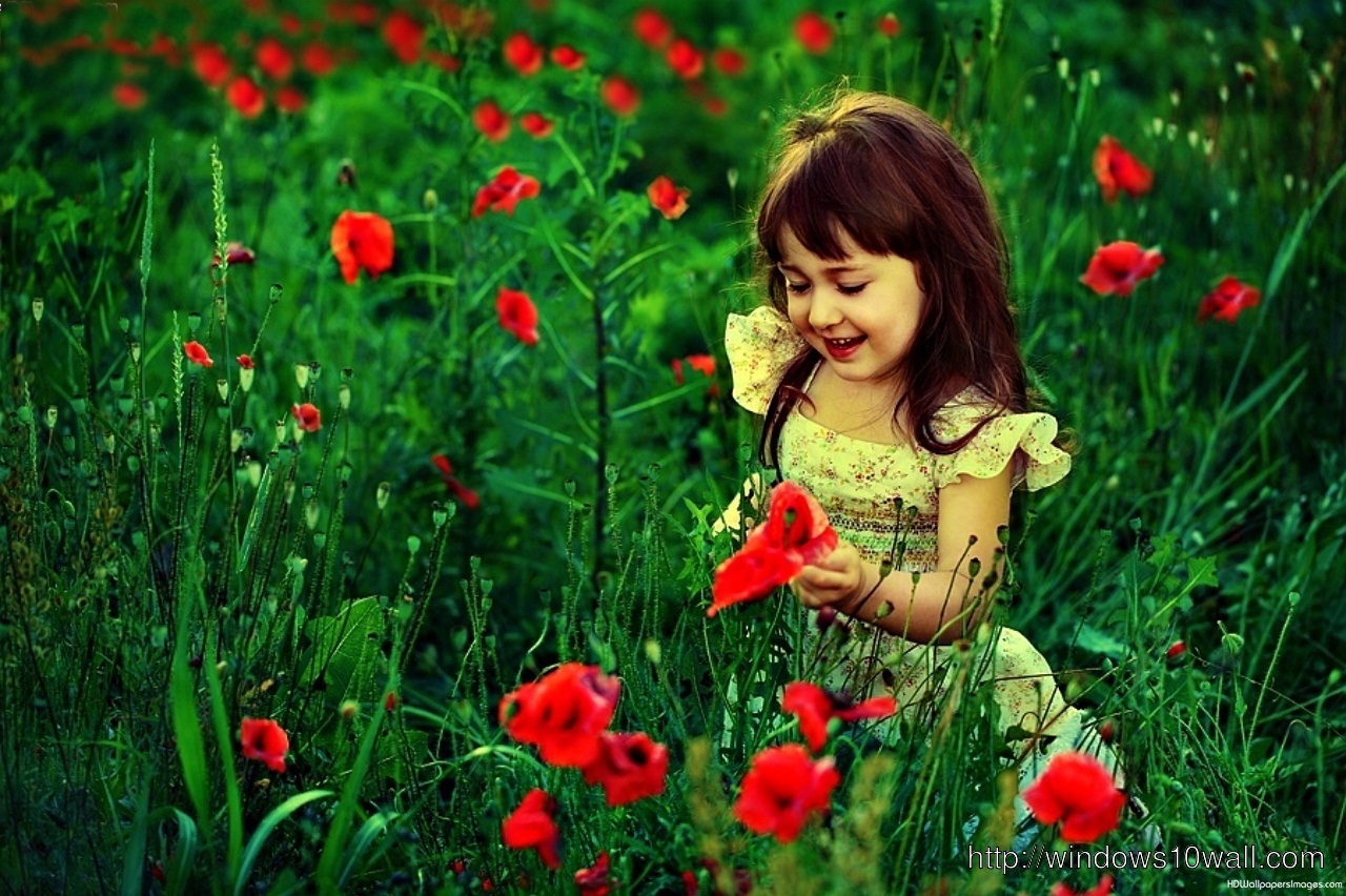 Beautiful Baby Girl In Green Nature Red Flowers Windows