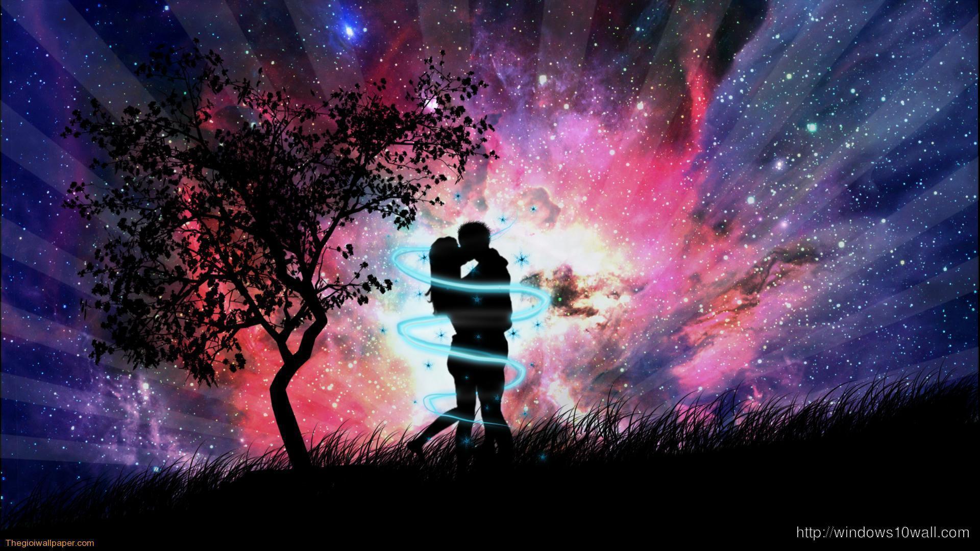 Beautiful Love In Dark Night Background Wallpaper