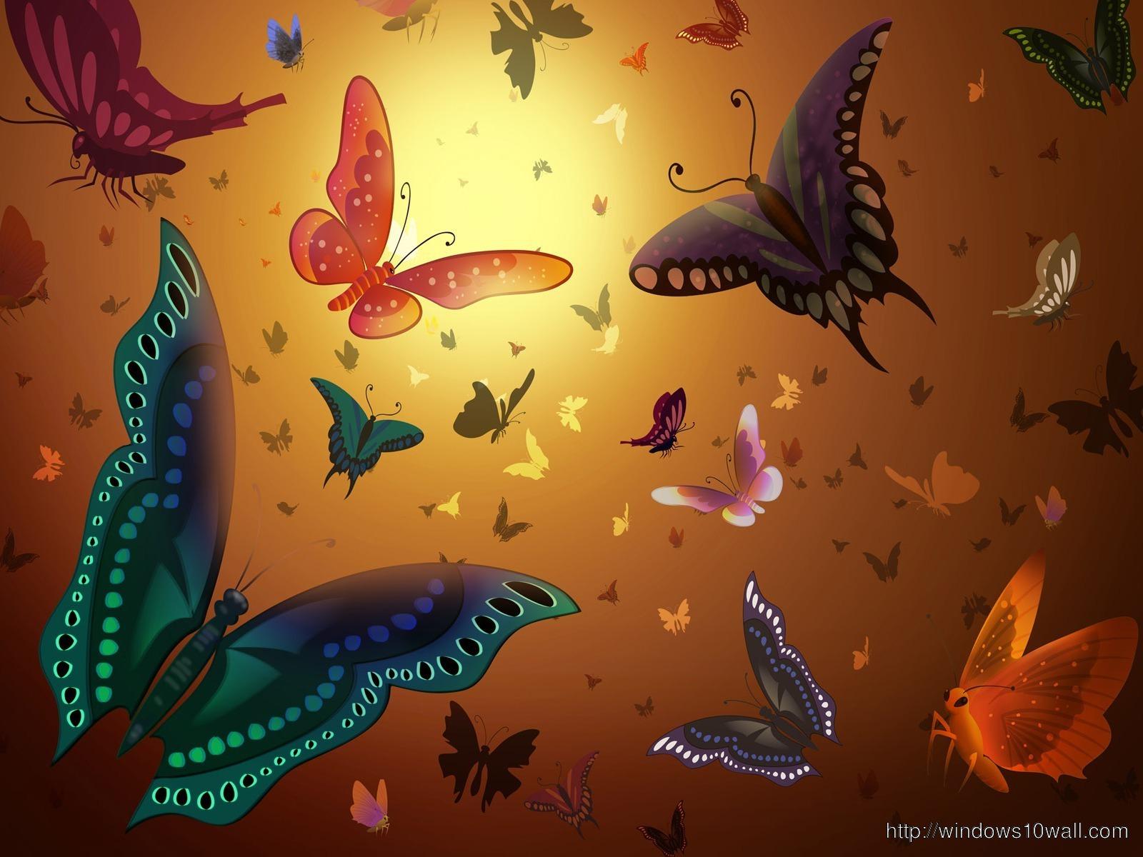 Brown Background Beautiful Butterflies Al Over Wallpaper