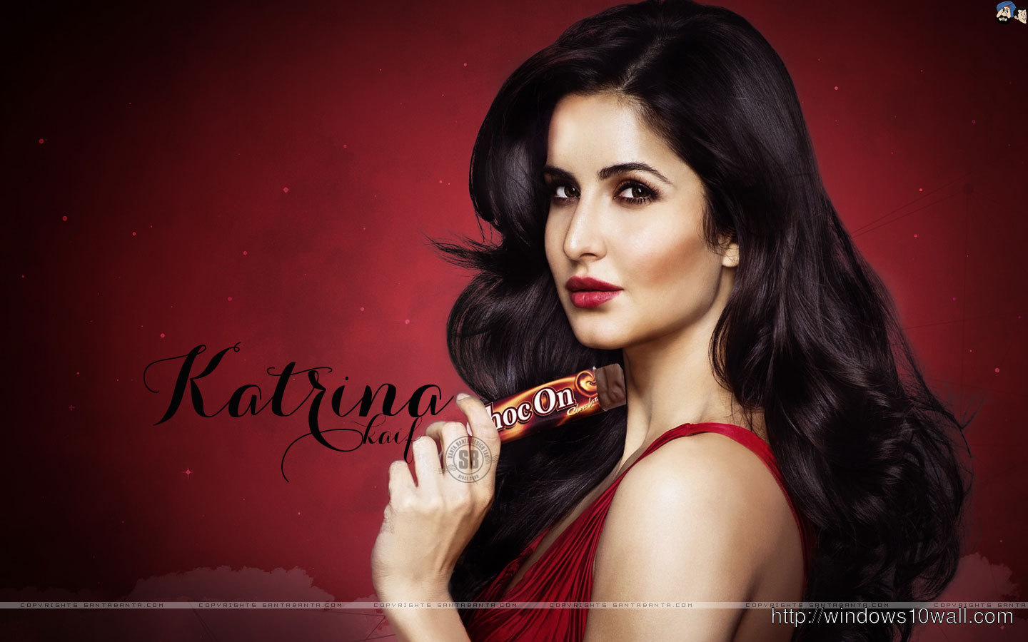 Katrina Kaif in Red Background Wallpaper