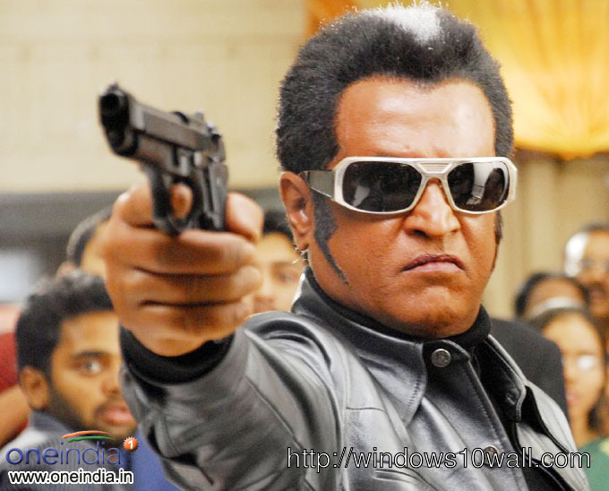 Rajinikanth with Gun Background Wallpaper