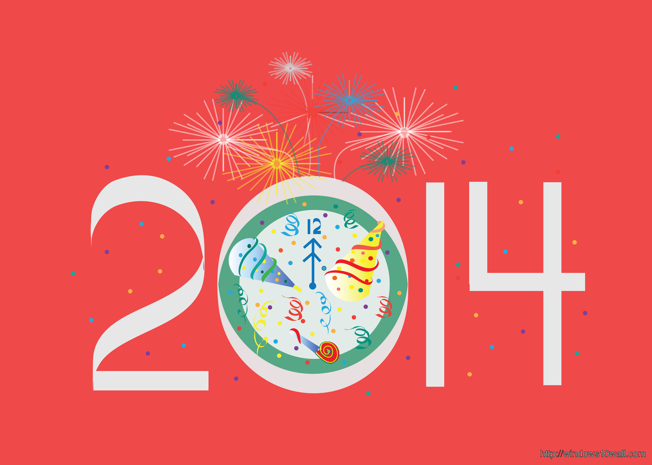 Happy New Year 2014 Red Background Wallpaper