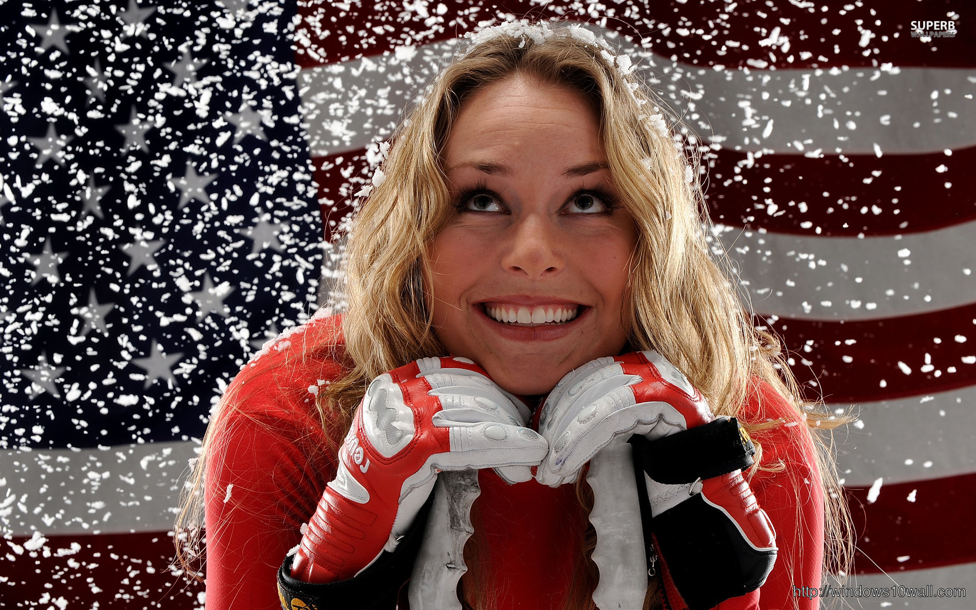 Lindsey Vonn with US Flag Background Wallpaper