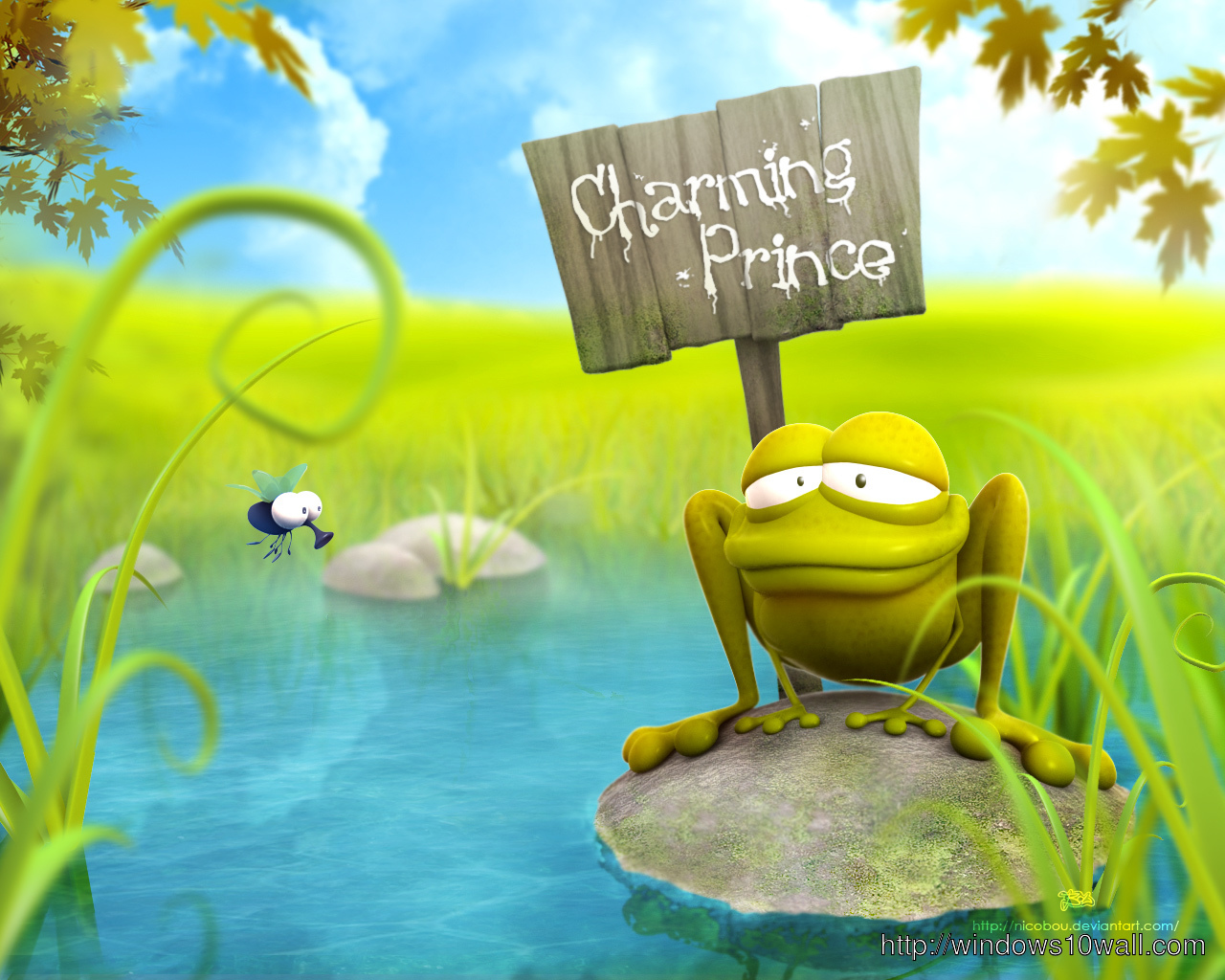 Funny Frog Cartoon Background Wallpaper