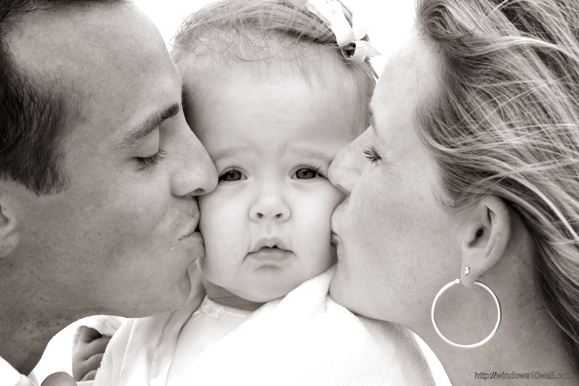 Parents Kissing Cute Baby Photo