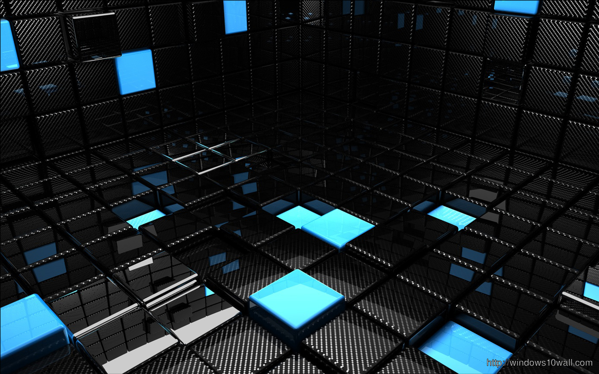 3d Blue And Black Cube Free Download Wallpaper Windows 10 Wallpapers