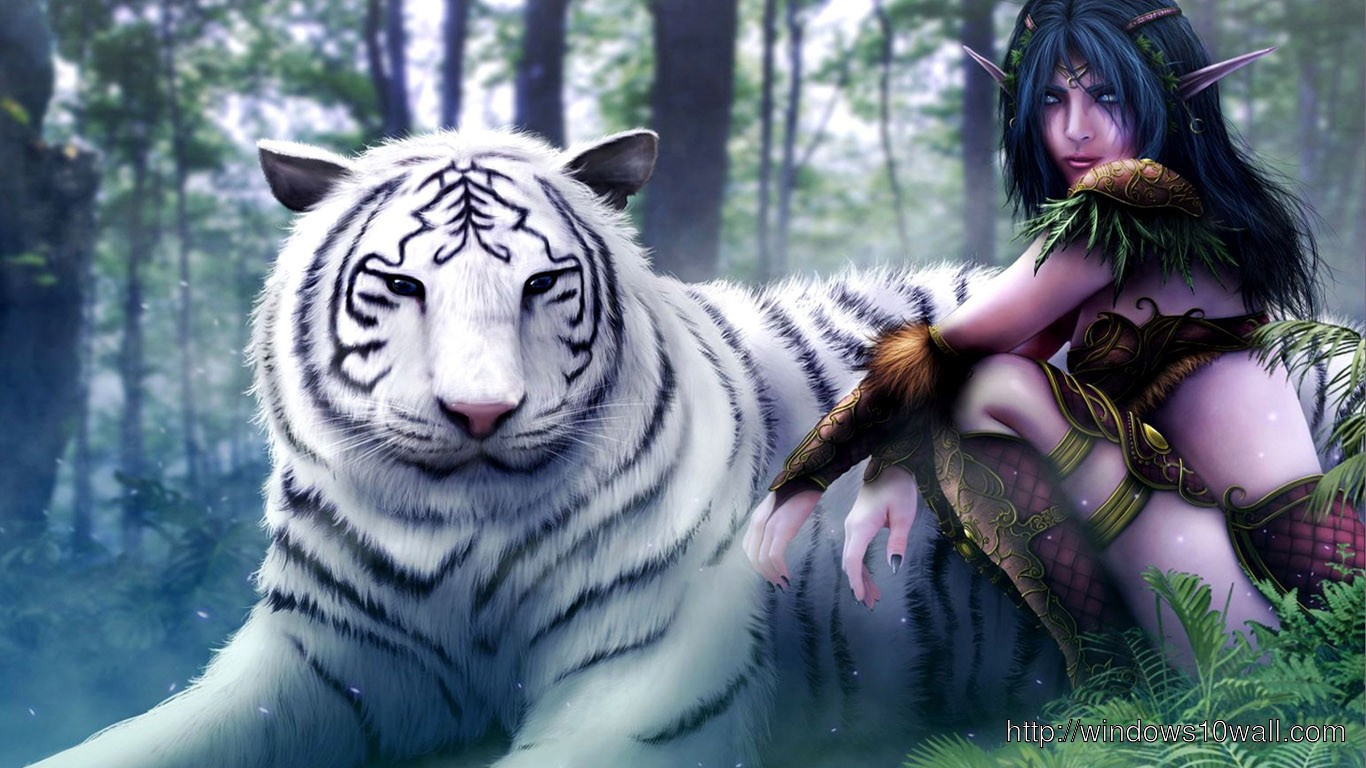 3D White Tiger and Girl HD Fre Download Wallpaper