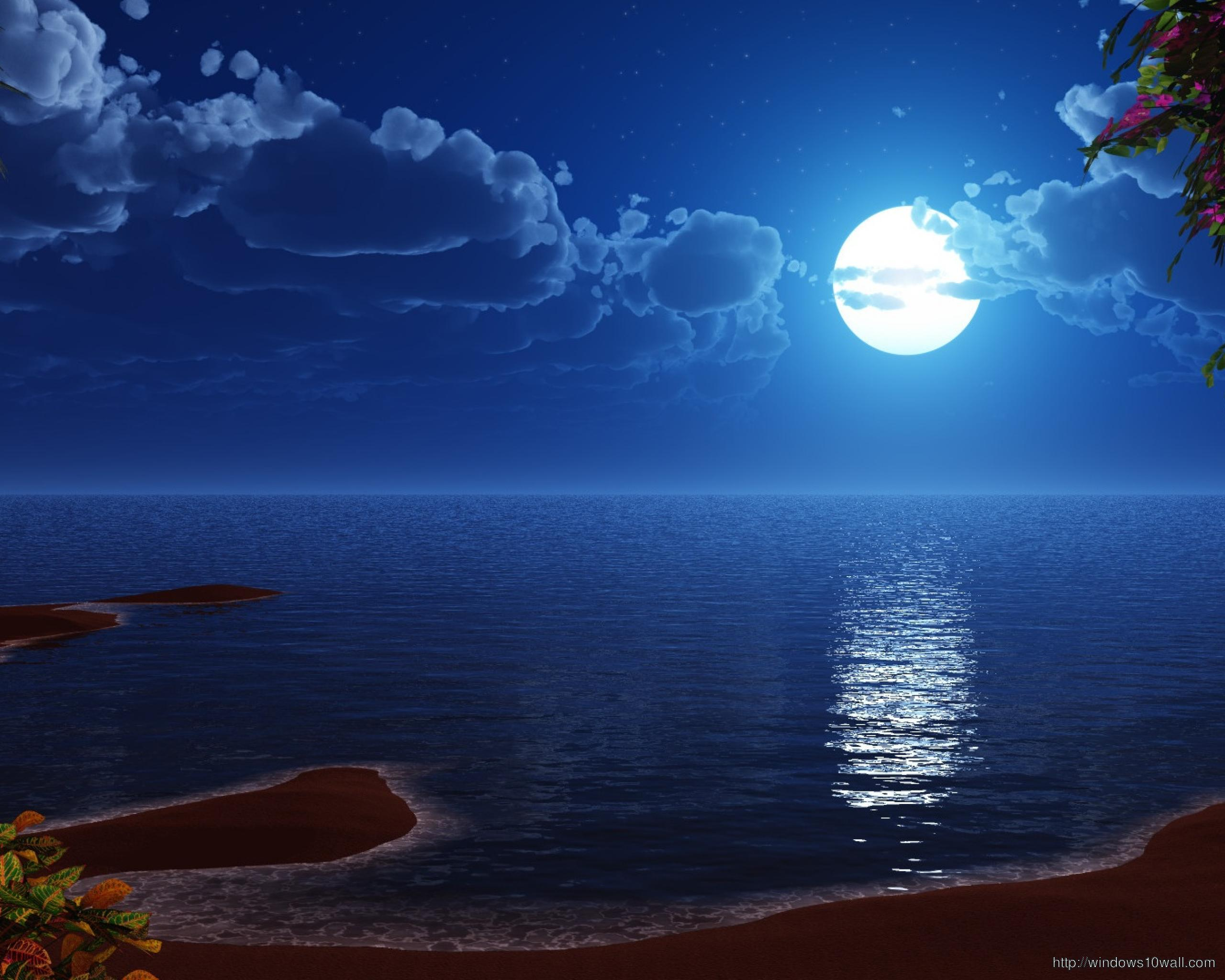 Blue Moon On Beach Hd Wallpaper Windows 10 Wallpapers